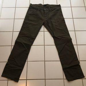 Men's Hudson Olive Green Byron 5 Pocket Straight